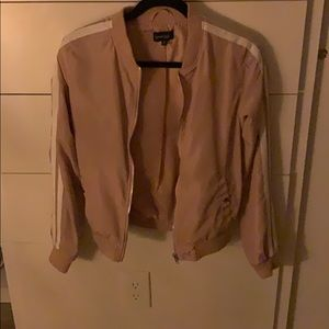 Pink and White Stripped Sports Jacket